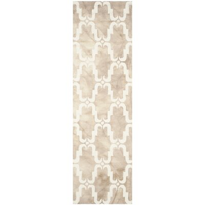 Hand-Tufted Dip Beige/Ivory Area Rug Rug Size: Runner 23 x 8