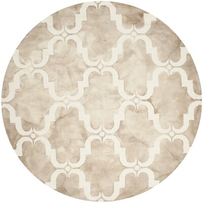 Hand-Tufted Dip Beige/Ivory Area Rug Rug Size: Round 7