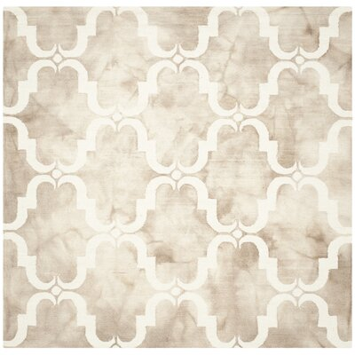 Hand-Tufted Dip Beige/Ivory Area Rug Rug Size: Square 7