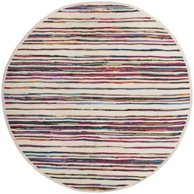 Sanchali Hand-Woven Ivory/Red Area Rug Rug Size: Round 6