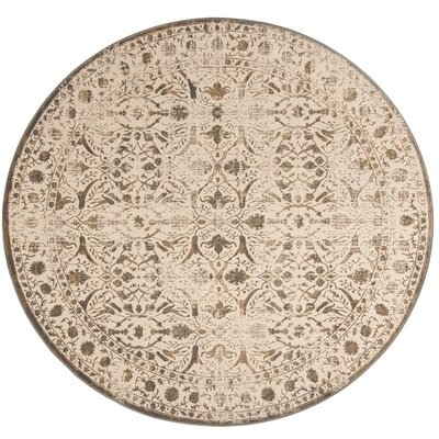 Roma Cream / Bronze Area Rug Rug Size: Square 67