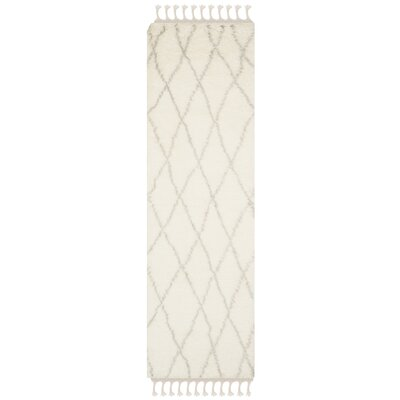 Cosima Hand-Knotted Ivory/Gray Area Rug Rug Size: Runner 23 x 8