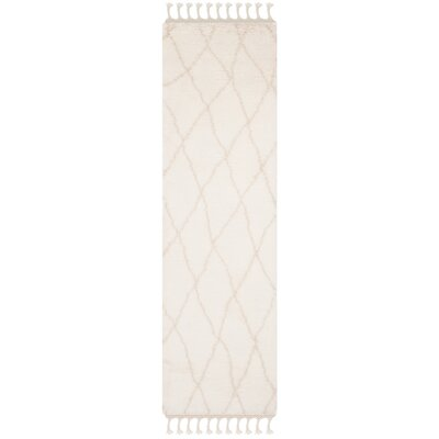 Cosima Hand-Knotted Ivory/Beige Area Rug Rug Size: Runner 23 x 8