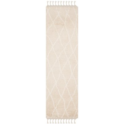 Cosima Hand-Knotted Beige/Ivory Area Rug Rug Size: Runner 23 x 8