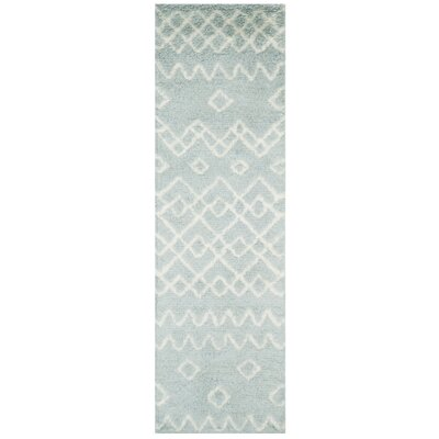 Cosima Hand-Knotted Blue/Ivory Area Rug Rug Size: Runner 23 x 8