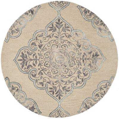 Brennan Hand-Tufted Wool Beige Area Rug Rug Size: Round 7