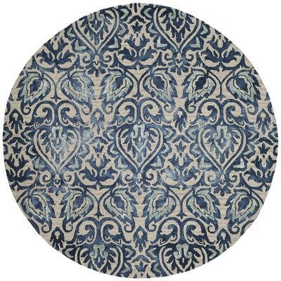 Brennan Hand-Tufted Wool Royal Blue Area Rug Rug Size: Round 7