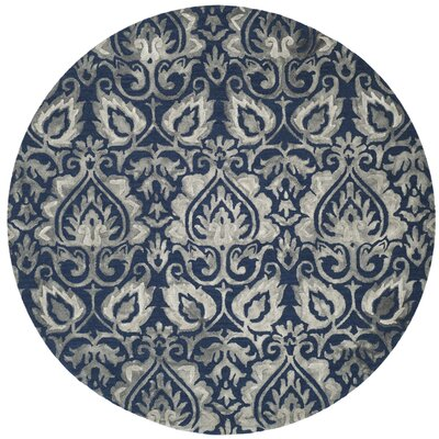 Brennan Hand-Tufted Wool Navy Area Rug Rug Size: Round 7