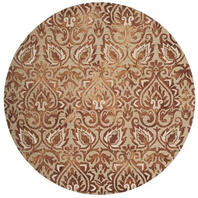 Brennan Hand-Tufted Wool Copper Area Rug Rug Size: Round 7