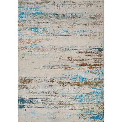 Billerica Distressed Lines Gray/Blue Area Rug Rug Size: 53 x 77