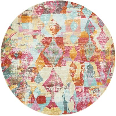 Yearsley Red/Beige/Blue Area Rug Rug Size: Round 82 x 82