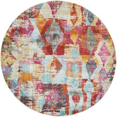 Yearsley Red/Beige/Blue Area Rug Rug Size: Round 5'5