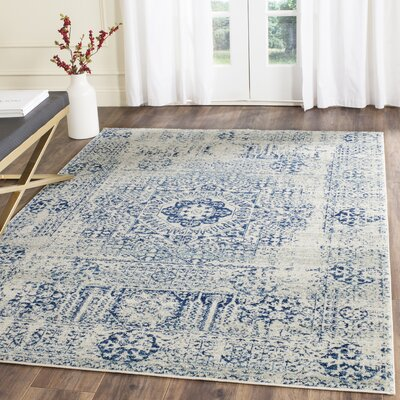 Huma Ivory/Blue Area Rug Rug Size: Rectangle 10 x 14