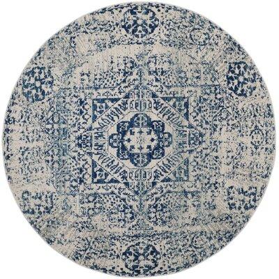 Huma Ivory/Blue Area Rug Rug Size: Round 67