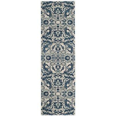 Montelimar  Ivory/Blue Area Rug Rug Size: Runner 22 x 7