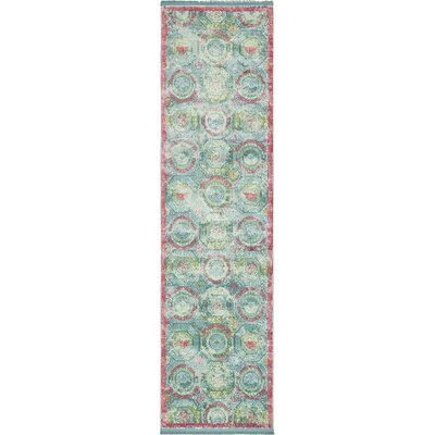 Lonerock Turquoise/Pink Area Rug Rug Size: Runner 27 x 10