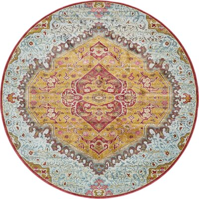 Lonerock Yellow/Red Area Rug Rug Size: Round 84