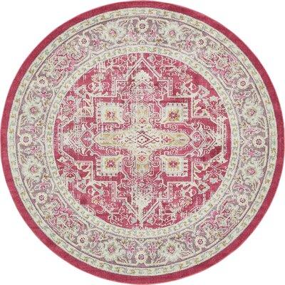 Lonerock European Pink Area Rug Rug Size: Round 84