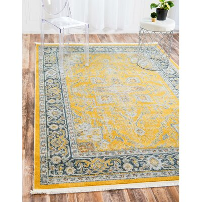 Lonerock Yellow Area Rug Rug Size: Round 55