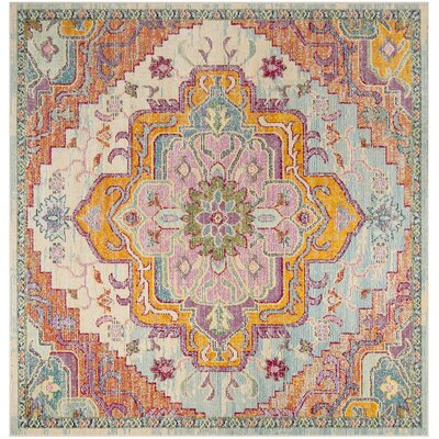 Floressa Light Blue/Fuchsia Area Rug Rug Size: Square 5