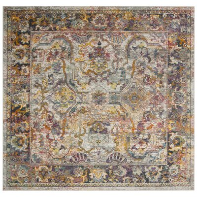 Elegy Light Blue/Orange Area Rug Rug Size: Square 7
