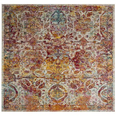 Lazaro Light Blue/Orange Area Rug Rug Size: Square 7'