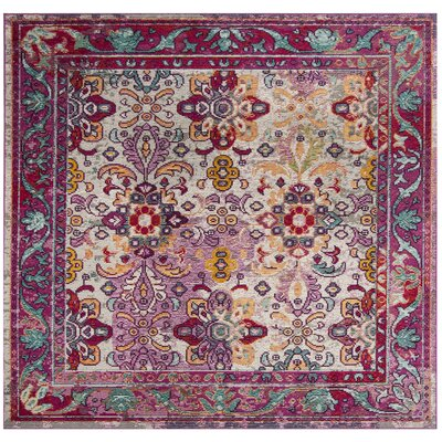 Nonet Light Blue/Fuchsia Area Rug Rug Size: Square 7