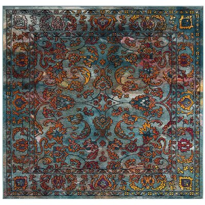 Brazos Light Blue/Orange Area Rug Rug Size: Square 7