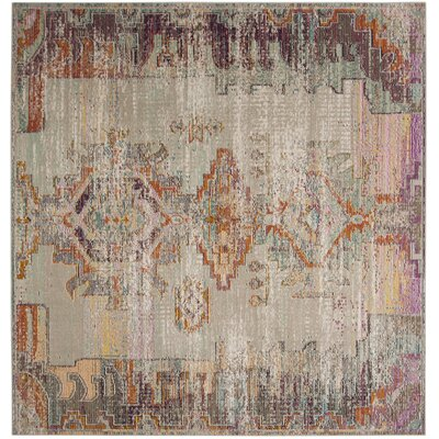 Jasper Light Gray/Purple Area Rug Rug Size: Square 7