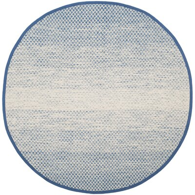Saleem Hand-Woven Blue/Ivory Area Rug Rug Size: Round 6