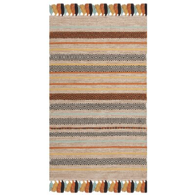 Trenton Hand-Woven Cotton Beige Area Rug Rug Size: Rectangle 26 x 4