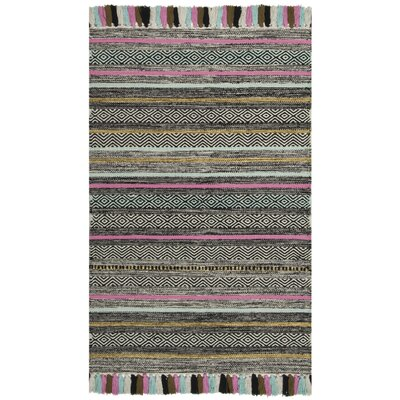 Trenton Hand-Woven Cotton Black Area Rug Rug Size: Rectangle 26 x 4
