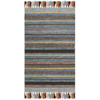 Trenton Hand-Woven Cotton Blue Area Rug Rug Size: Rectangle 26 x 4