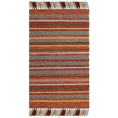 Trenton Hand-Woven Cotton Rust Area Rug Rug Size: Rectangle 26 x 4