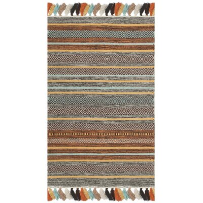 Trenton Hand-Woven Cotton Brown/Gray Area Rug Rug Size: Rectangle 26 x 4