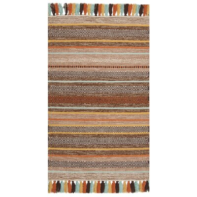 Trenton Hand-Woven Cotton Brown Area Rug Rug Size: Rectangle 26 x 4