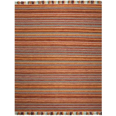 Trenton Hand-Woven Cotton Rust Area Rug Rug Size: Runner 23 x 8