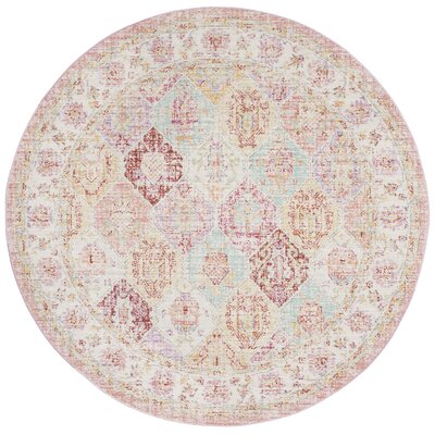 Chauncey Pink Area Rug Rug Size: Round 6