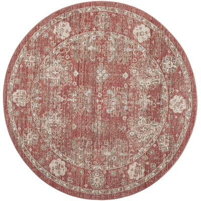 Chauncey Red Area Rug Rug Size: Round 6