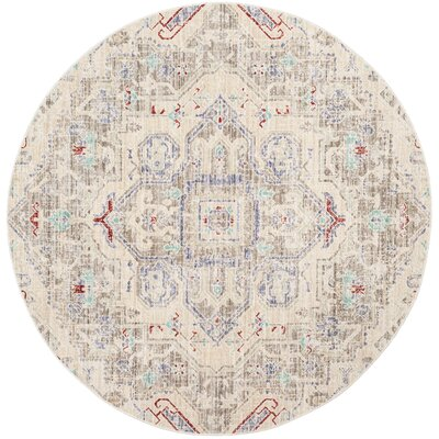 Chauncey Light Gray Area Rug Rug Size: Round 6