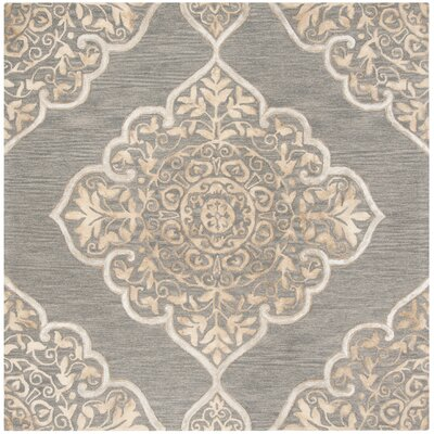 Brennan Hand-Tufted Wool Slate Area Rug Rug Size: Square 7