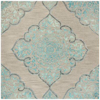 Brennan Hand-Tufted Wool Beige Area Rug Rug Size: Square 7
