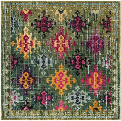 Chana Green/Pink/Yellow Area Rug Rug Size: Square 67