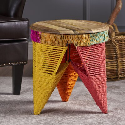 Burna End Table with Wood Top Color: Multicolor