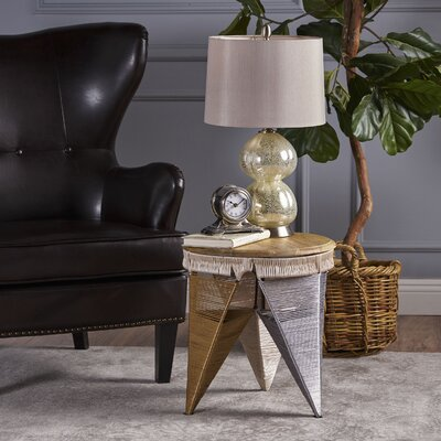 Burna End Table with Wood Top Color: Blue