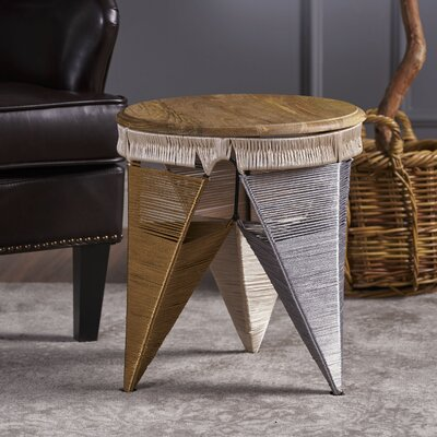 Burna End Table with Wood Top Color: Gray