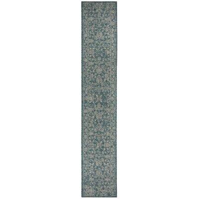 Haddad Blue/Gray Area Rug Rug Size: Runner 23 x 12