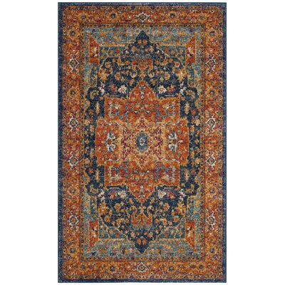 Battista Blue/Orange Area Rug Rug Size: Rectangle 67 x 9