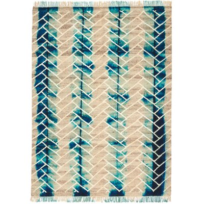 One-of-a-Kind Ibiza Hand-Woven Turquoise/Beige Indoor Area Rug