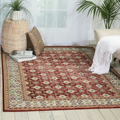 Dover Red/Orange/Green Area Rug Rug Size: Rectangle 53 x 73